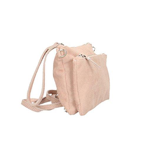Chicca Borse echtes Leder Schultertasche 24 x 17 x 4 Cm Rosa