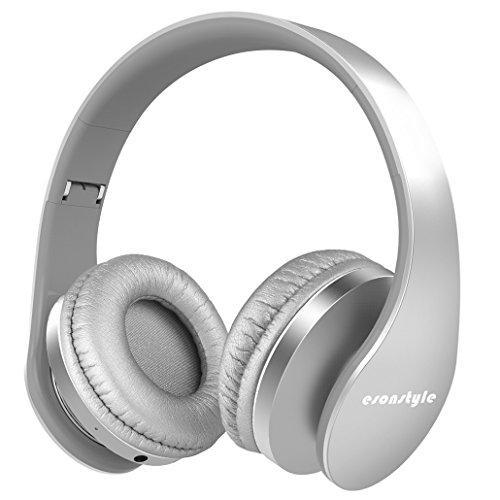 Bluetooth Kopfhörer, Esonstyle Bluetooth 4.0 Wireless Kopfhörer mit Mikrofon/ FM Radio/ TF SD Karte Slot/ 3,5mm Audio AUX Kompatibel mit Allen Gängigen Smartphones/Tablets und Andere (Silber)