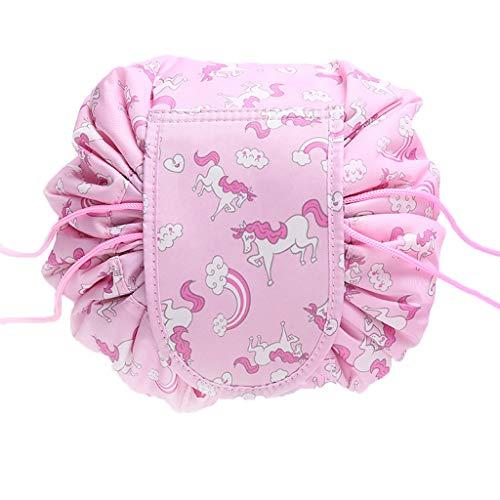 OrgaWise Kulturbeutel Frauen Kosmetiktasche Klein Kulturtasche Damen Make-up Tasche Wasserdichter Travel Cosmetic Bag mit Tunnelzug (Rosa)