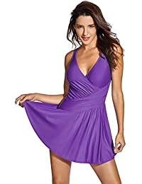 Delimira Women's Plus Size Tummy Control One Piece Swimdress Skirted Bathing Suits