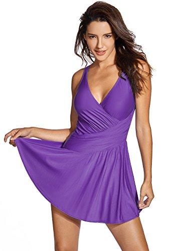 Delimira Damen Badeanzug - ohne Bügel Große Größen Einteiler Badekleid dunkel-lila 50 (Swimdress Bügel)