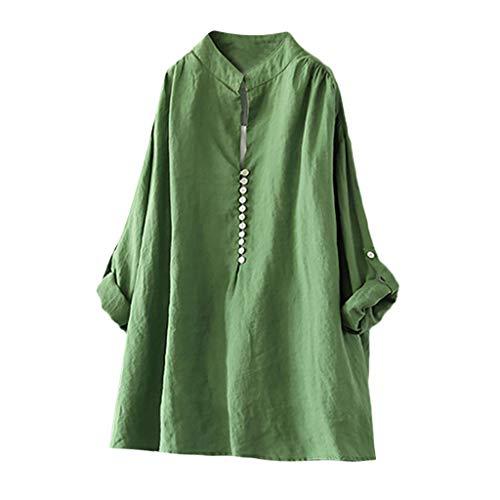Zegeey Damen T-Shirt Kurzarm V-Ausschnitt Baumwolle Leinen Sommer Casual Tops Bluse Oberteil Hemd Mit Tasche LäSsige Lose Weiß Pink Navy(A5-Grün,EU-42/CN-XL)