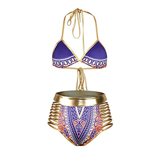 RIOJOY Afrika-Bikini-Set für Damen, Tribal-Print, Metallic, zweiteilig, hohe Taille, Aussparung, Badeanzug - violett - Medium (Tribal Print Badeanzug)
