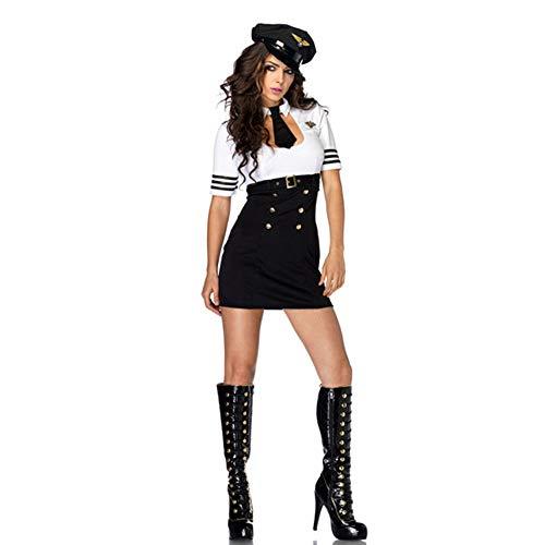 LVLUOYE Rolle Spielen weibliche Polizei Uniform, Halloween-Female Pilot Astronaut, Stewardess Cosplay ()