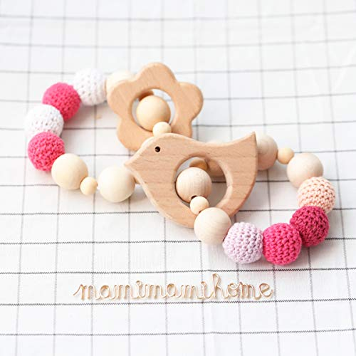 Mamimami Home 2pc Baby Teethers Safe Holz Säugling Spielzeug Zahnen Spielzeug Bio Baby Chew Rassel Babyshower Baby Geschenk Holz Ring Perlen Häkeln Armband Teether Spielzeug