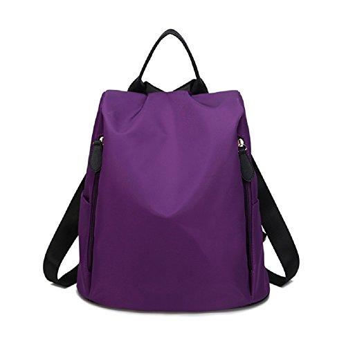 MSXUAN Neu Mode Nylon Rucksack Freizeit Oxford Tuch Schultertasche Damen L003DE-Lila
