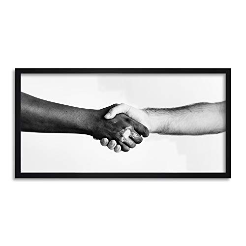 Handshake Greeting Arms Black White Framed Wall Art Print Long 25X12 Inch Wand