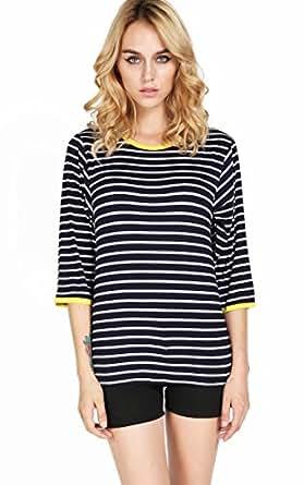 ACEVOG Damen Bluse Streifenshirt T-shirt Longarm Sport Top