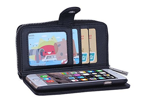 iPhone 5C Cuir Coque housse Etui,Vandot Case Cover pour iPhone 5C Fermeture Eclair Leather Money Sac Carte Bag Protection telephone Hull Cas Portefeuille + Stylet- Noir zipper Noir