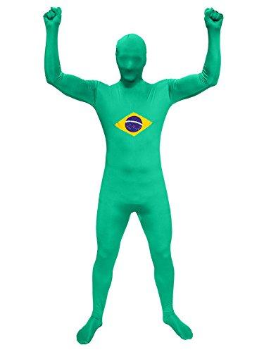 Zoelibat 97194242.143.L. - Speedsuit Brasilien - Unisex Ganzkörperanzug Bodysuit Catsuit, - Karneval Kostüm Brasilien