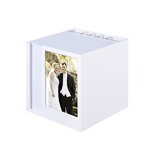 Zettelbox mit Fotoeinschub und Schreibgeräteköcher weiß