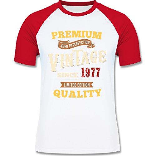 Geburtstag - 40. Geburtstag Vintage 1977 - zweifarbiges Baseballshirt für Männer Weiß/Rot