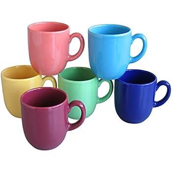 Kaffeebecher Kaffeetassen Keramik farbig sortiert mit L/öffel Coffee Motiv 300 ml 4 St/ück Set