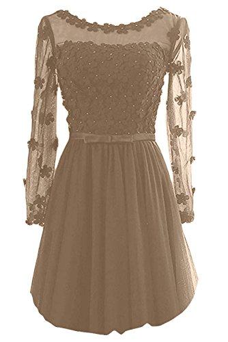 Gorgeous Bride Elegant Brautmutterkleider Lang Aermel Satin Tuell A-Linie Abendkleider Lang Ballkleider Hell-Braun-Kurz