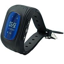 Reloj para Niños Q50, 9Tong Reloj Infantil Pulsera Inteligente Localizador Pantalla OLED con Smartphones (GPS, LBS, SOS Llamadas, Tarjeta SIM, para Android e IOS) (Negro)