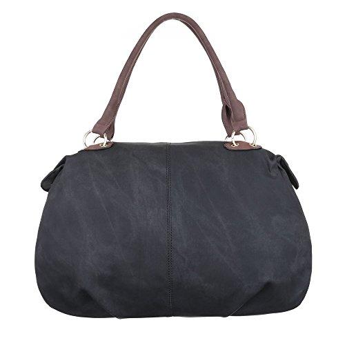 Damen Tasche, Schultertasche, Große Handtasche In Used Optik, Kunstleder, TA-A-676 Schwarz Braun