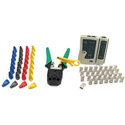 Incutex kit Outils réseau – Pince à sertir, testeur de câbles, connecteur réseau, Gaines en Plastique, Coupe-câbles LAN