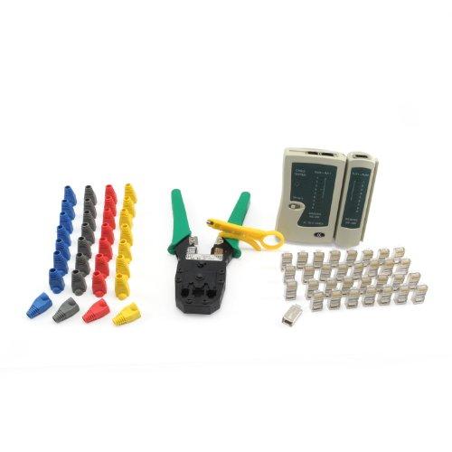 Incutex kit Outils réseau - Pince à sertir, testeur de câbles, connecteur réseau, Gaines en Plastique, Coupe-câbles LAN