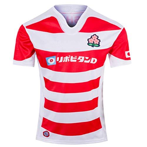 Okeak Männer Rugby-Trikot Japan World Cup Rugby Besticktes T-Shirt Fan-Ausrüstung Fußballfan Polo-Shirt Sport Atmungsaktives Trainings-T-Shirt,A,S