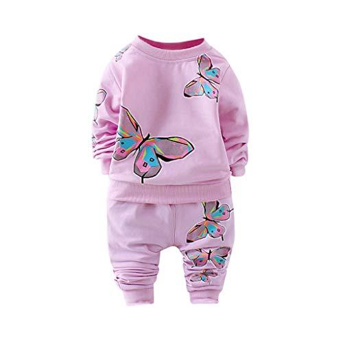 MRULIC Kleinkind Baby Jungen und Mädchen Insgesamt Langarm T-Shirt und Hose Trainingsanzug Bekleidungsset Outfits Schlafanzug mit Schmetterlingsdruck(Violett,80-90cm/M) - Snoopy-pyjama-hose