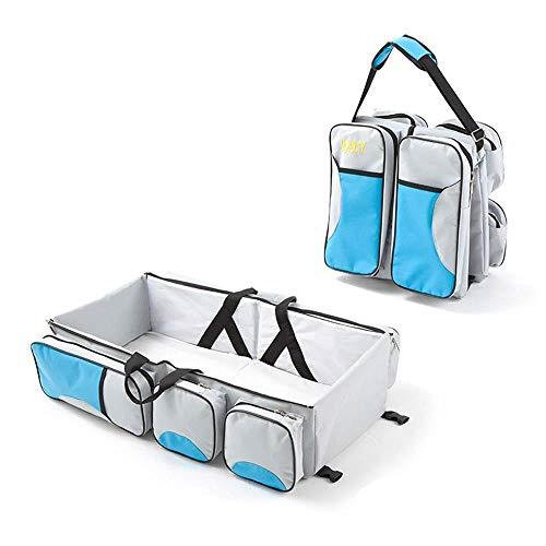 Hamkaw 2 en 1 Cunas portátiles para bebé y Bolsa de Mano de Gran Capacidad, colchones multifunción cómodos, Plegables para Compras al Aire Libre con Bolsa para pañales