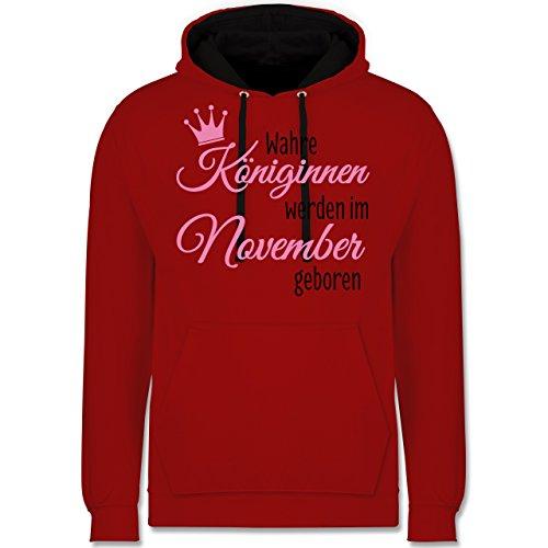 Geburtstag - Wahre Königinnen werden im November geboren - Kontrast Hoodie Rot/Schwarz