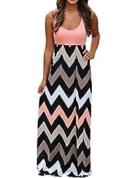 Sommerkleid Damen Maxikleid Strandkleider Lang Partykleid Maxi Kleider mit  Zackenmuster Elegant Womens Striped Boho Kleid Lady 0a91f76bf3