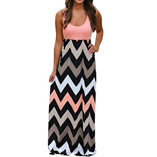 Sommerkleid Damen Maxikleid Strandkleider Lang Partykleid Maxi Kleider mit Zackenmuster Elegant Womens Striped Boho Kleid Lady Beach Sommer Maxikleid Plus Größe (XXXL, Rosa) (Plus Größe 18 Brautkleider)