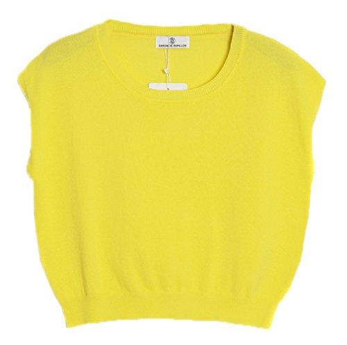 Smile YKK T-shirt Peplum Tops Uni Tricot Débardeur Couleurs Bonbons Pour Femme Jaune