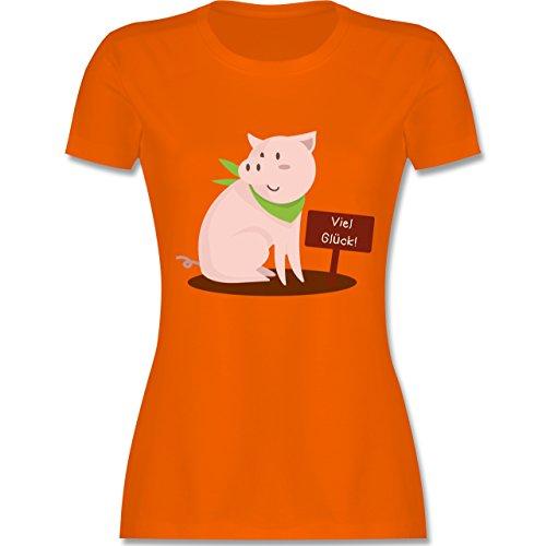 Sonstige Tiere - Glücksschweinchen - tailliertes Premium T-Shirt mit Rundhalsausschnitt für Damen Orange