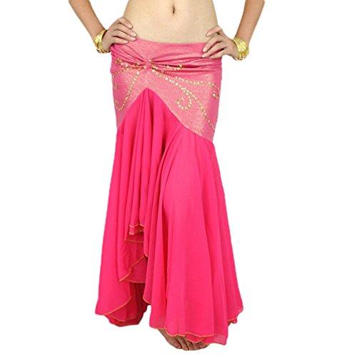YuanDian Damen Chiffon Fischschwanz Bauchtanz Langer Rock Unregelmäßiger Eleganter Beruflicher Arabischer Orientalischer Tanz Stammes Fusion Röcke Kostüm Rose
