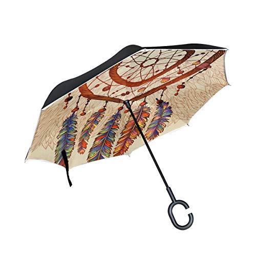 Dibujado a Mano Colgante Dreamcatcher Doble Capa Plegable Protección Anti-UV Impermeable a Prueba de Viento Coches Rectos Invertido Paraguas invertido con manija en Forma de C para la Lluvia Coche