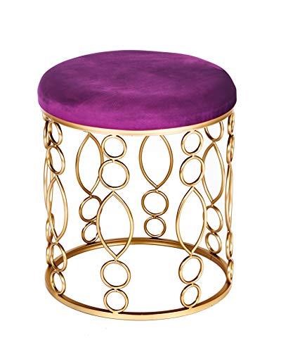 ts-ideen Polsterhocker Purpur Lila Metallgestell Rund Schemel mit Gepolsterter Sitzfläche Stuhl...