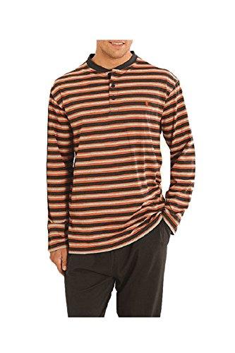 Herren Gestreifter Langer Zweiteiliger Schlafanzug/Pyjama, Moderne Nachtwäsche für Männer - Strickwaren, 100% Baumwolle - Größe L - Grau, Orange und Schwarz (Graue Flache Kleid Hose)