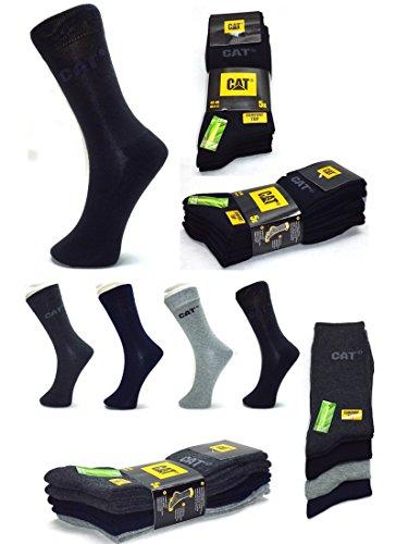 CAT Caterpillar Herren Businesssocken,MEGA-Farb- und Mengenauswahl wahlweise 5|10|15|20 Paar, in 39-42 / 43-46 / 47-50 in Schwarz und/oder Bunt-Mix, Socken
