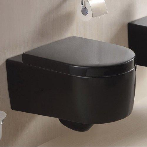 Wc-sitz-runde Bidet (Wandhängende WC Toilette Soft-Close aus Acryl Schwarz 2044-18)