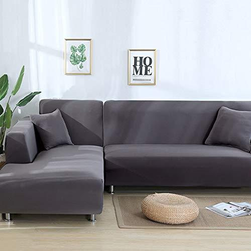 Große Loveseat Abdeckung (SSDLRSF Sofa Cover Große Elastizität 100% Polyester Spandex Stretch Couch Abdeckung Loveseat Sofa Handtuch Möbel Abdeckung Maschinenwäsche (90-300cm), Grau, 3seater 190-230cm)
