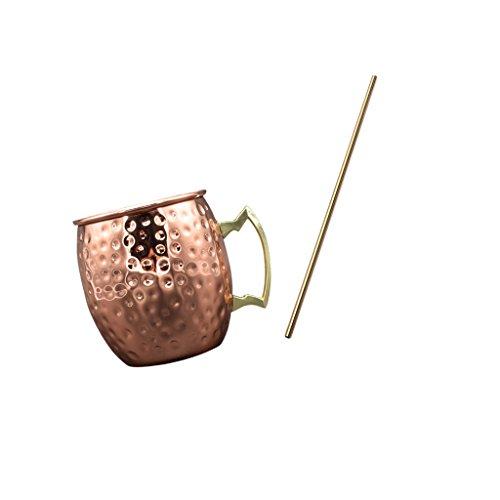non-brand Baoblaze Kupferbecher Moscow Mule Tassen Mehr Form Tassen + Strohhalme Trinkhalme aus Edelstahl - 8.43 Licht