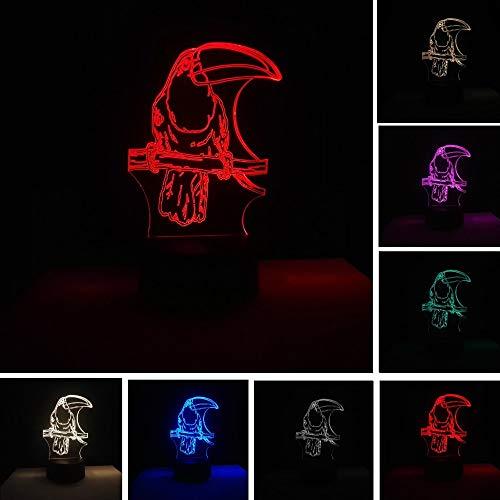 Neuheit papagei vogel 3d 7 farbe led usb touch nachtlicht 7 farbwechsel romantische liebe licht kind baby schlaf dekoration weihnachtsgeschenk