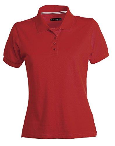 Polo pour Femme Venice en coton à manches courtes 4boutons pour le cou Rouge