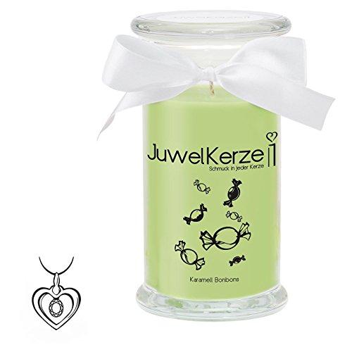 """JuwelKerze """"Karamell-Bonbons"""" - Kerze im Glas mit Schmuck - Große grüne Duftkerze mit Überraschung als Geschenk für Sie (925 Sterling Silber Anhänger, Brenndauer: 90-120 Stunden, Schmuckwert von bis zu 250€)"""