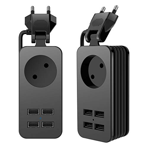 Regleta enchufes alargadores de 1.5 metros con 4 usb 5V 2A USB Puertos Regleta con Múltiples Protección Carga para Samsung IPad Iphone Tablets Smartphone Telefonos y Otros Dispositivos