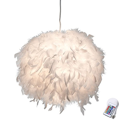 Hänge Leuchte weiß Fernbedienung Feder Pendel Kugel Lampe dimmbar im Set inkl. RGB LED Leuchtmittel