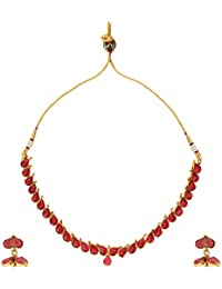 Dancing Girl Antique Bridal Rani Pink Metal Alloy Jewellery Set With Necklace And Earring For Women