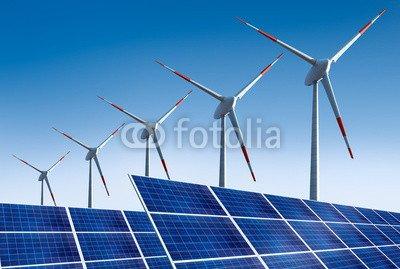 """Poster-Bild 40 x 30 cm: """"5 Windräder mit Solarpanels"""", Bild auf Poster"""