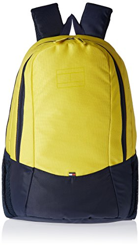 Tommy Hilfiger Jasper Polyester Yellow and Navy Laptop Bagpacks (TH/JES14BP0314)