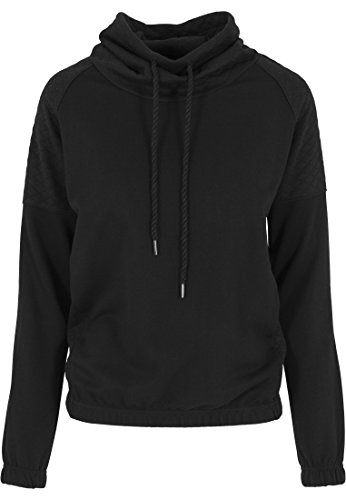 Urban Classics - Pullover Quilt High Neck Crew, Felpa Donna, Nero (Schwarz), Medium (Taglia Produttore: Medium)