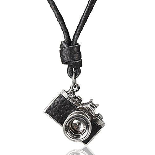 MESE London Fotografie Halskette Schwarz Echtes Leder Foto Kamera Anhänger - Elegante Geschenkbox (Kamera Für Schmuck Fotografie)