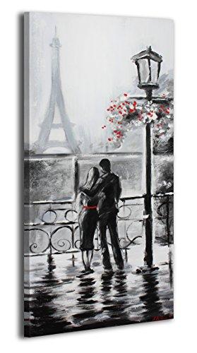 YS-Art Acryl Gemälde Nach dem Regen | Handgemalt | 115x50cm | Wand Bild | Moderne Kunst | Leinwand | Unikat | Grau