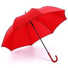 RUMBRELLA Red Umbrella Auto Open with J Hook Handle, 50IN Stick Umbrellas Windproof